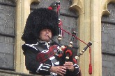 traditional scottish bagpiper